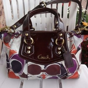 Coach patent fabric multicolor sholder bag